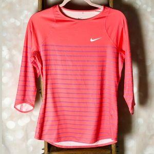 Nike Dri Fit Coral Purple Striped Athletic Top